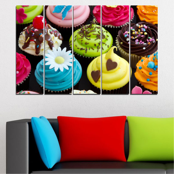 Canvas prints & wall decorative panels - 5 pieces №0250 » Blue, Green, Brown, Black, Beige » Culinary, Colorful, Pastry Form #2