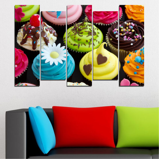 Canvas prints & wall decorative panels - 5 pieces №0250 » Blue, Green, Brown, Black, Beige » Culinary, Colorful, Pastry Form #3