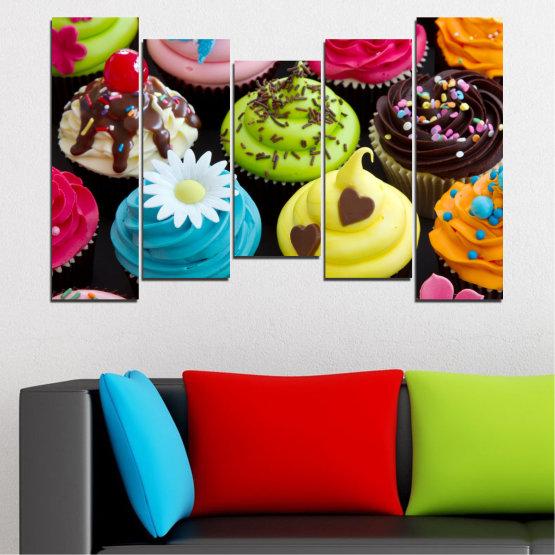 Декоративни панели и картини от канава - от 5 части №0250 » Син, Зелен, Кафяв, Черен, Бежов » Кулинарен, Цветен, Сладки Form #4