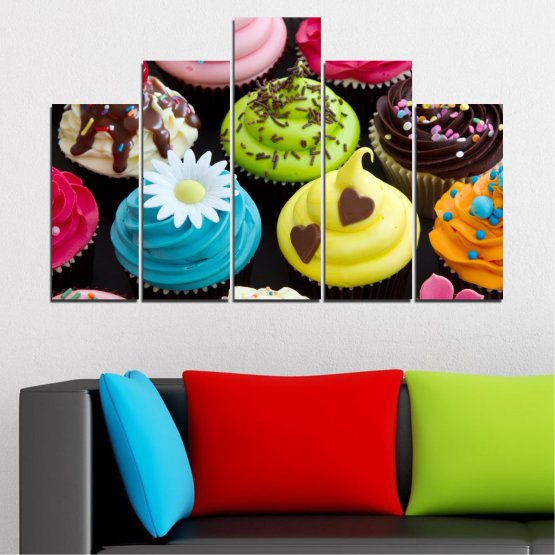 Canvas prints & wall decorative panels - 5 pieces №0250 » Blue, Green, Brown, Black, Beige » Culinary, Colorful, Pastry Form #5