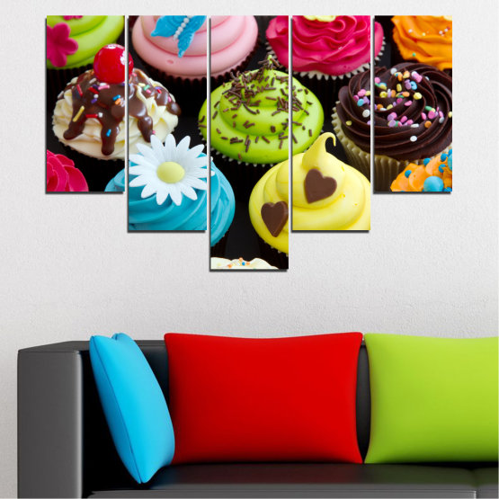 Canvas prints & wall decorative panels - 5 pieces №0250 » Blue, Green, Brown, Black, Beige » Culinary, Colorful, Pastry Form #6