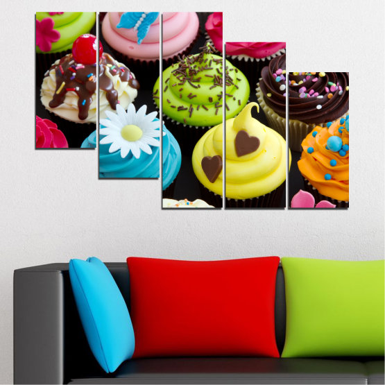 Canvas prints & wall decorative panels - 5 pieces №0250 » Blue, Green, Brown, Black, Beige » Culinary, Colorful, Pastry Form #7