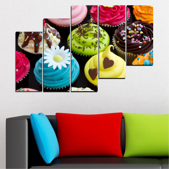 Canvas prints & wall decorative panels - 5 pieces №0250 » Blue, Green, Brown, Black, Beige » Culinary, Colorful, Pastry Form #8