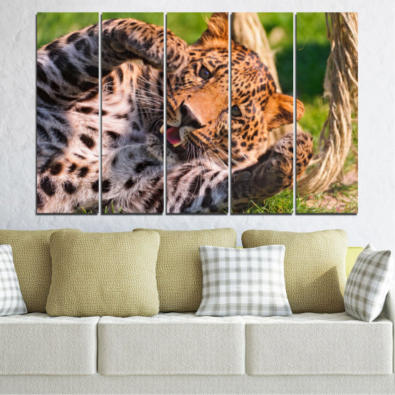 Canvas prints & wall decorative panels - 5 pieces №0251 » Brown, Black, Gray, Beige, Dark grey » Animal, Portrait, Leopard Form #2