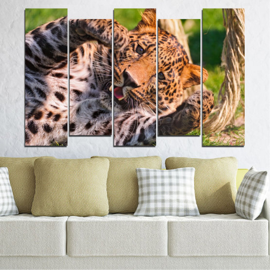 Canvas prints & wall decorative panels - 5 pieces №0251 » Brown, Black, Gray, Beige, Dark grey » Animal, Portrait, Leopard Form #3