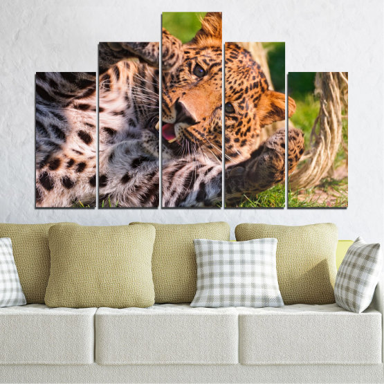 Canvas prints & wall decorative panels - 5 pieces №0251 » Brown, Black, Gray, Beige, Dark grey » Animal, Portrait, Leopard Form #5