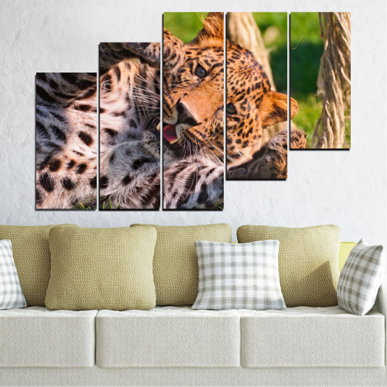 Canvas prints & wall decorative panels - 5 pieces №0251 » Brown, Black, Gray, Beige, Dark grey » Animal, Portrait, Leopard Form #8
