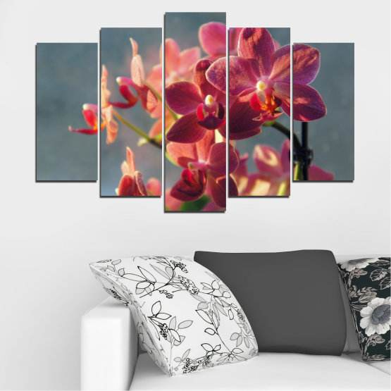 Canvas prints & wall decorative panels - 5 pieces №0252 » Red, Pink, Brown, Gray, Dark grey » Flowers, Orchid, Bouquet Form #1