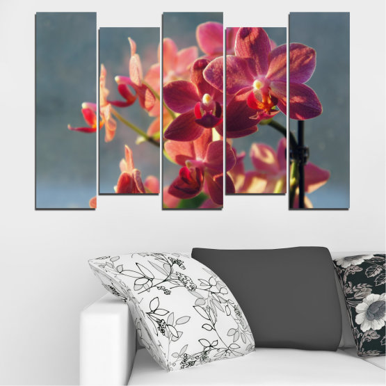 Canvas prints & wall decorative panels - 5 pieces №0252 » Red, Pink, Brown, Gray, Dark grey » Flowers, Orchid, Bouquet Form #3
