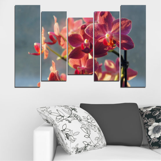 Canvas prints & wall decorative panels - 5 pieces №0252 » Red, Pink, Brown, Gray, Dark grey » Flowers, Orchid, Bouquet Form #4