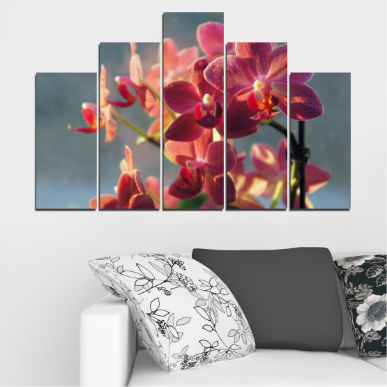 Canvas prints & wall decorative panels - 5 pieces №0252 » Red, Pink, Brown, Gray, Dark grey » Flowers, Orchid, Bouquet Form #5