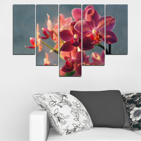 Canvas prints & wall decorative panels - 5 pieces №0252 » Red, Pink, Brown, Gray, Dark grey » Flowers, Orchid, Bouquet Form #6