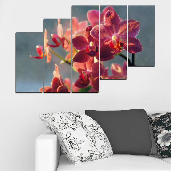 Canvas prints & wall decorative panels - 5 pieces №0252 » Red, Pink, Brown, Gray, Dark grey » Flowers, Orchid, Bouquet Form #8