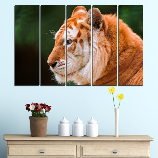 Canvas prints & wall decorative panels - 5 pieces №0253 » Green, Orange, Brown, Black » Animal, Portrait, Tiger Form #2