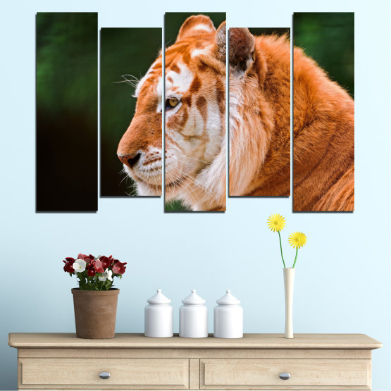 Canvas prints & wall decorative panels - 5 pieces №0253 » Green, Orange, Brown, Black » Animal, Portrait, Tiger Form #3