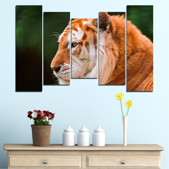 Canvas prints & wall decorative panels - 5 pieces №0253 » Green, Orange, Brown, Black » Animal, Portrait, Tiger Form #4
