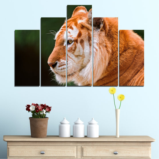 Canvas prints & wall decorative panels - 5 pieces №0253 » Green, Orange, Brown, Black » Animal, Portrait, Tiger Form #5