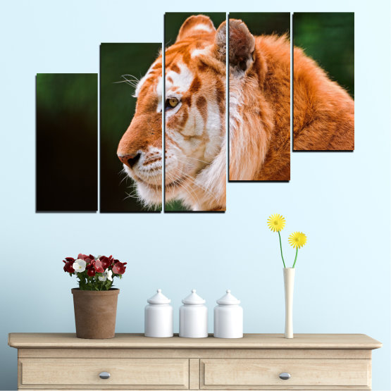 Canvas prints & wall decorative panels - 5 pieces №0253 » Green, Orange, Brown, Black » Animal, Portrait, Tiger Form #8