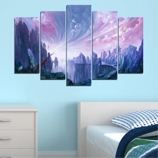 Декоративни панели и картини от канава - от 5 части №0254 » Син, Сив, Тъмно сив » Абстракция, Планина, Пушек, Скали, Път Form #1