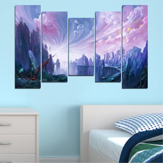 Декоративни панели и картини от канава - от 5 части №0254 » Син, Сив, Тъмно сив » Абстракция, Планина, Пушек, Скали, Път Form #4