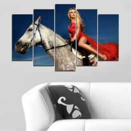 Woman, Horse, Animal » Brown, Black, Gray, Beige, Dark grey