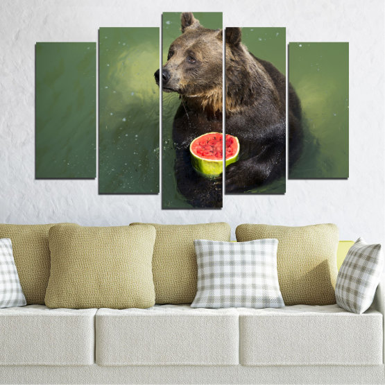 Canvas prints & wall decorative panels - 5 pieces №0256 » Brown, Black, Gray, Dark grey » Animal, Water, Watermelon, Bear Form #1