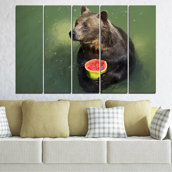 Canvas prints & wall decorative panels - 5 pieces №0256 » Brown, Black, Gray, Dark grey » Animal, Water, Watermelon, Bear Form #2
