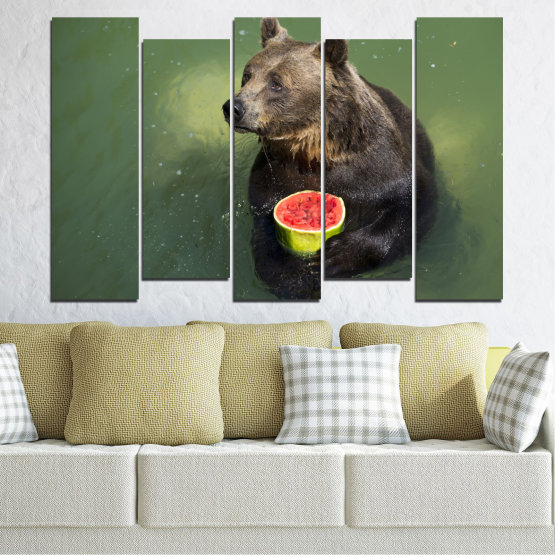Canvas prints & wall decorative panels - 5 pieces №0256 » Brown, Black, Gray, Dark grey » Animal, Water, Watermelon, Bear Form #3