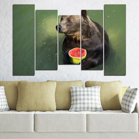 Canvas prints & wall decorative panels - 5 pieces №0256 » Brown, Black, Gray, Dark grey » Animal, Water, Watermelon, Bear Form #4
