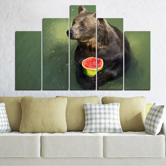 Canvas prints & wall decorative panels - 5 pieces №0256 » Brown, Black, Gray, Dark grey » Animal, Water, Watermelon, Bear Form #5