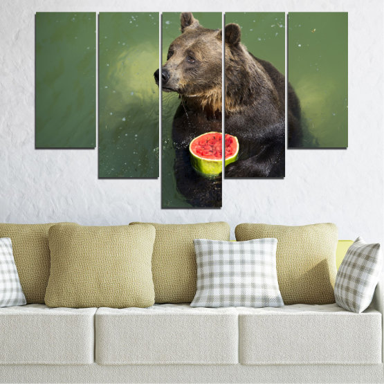 Canvas prints & wall decorative panels - 5 pieces №0256 » Brown, Black, Gray, Dark grey » Animal, Water, Watermelon, Bear Form #6