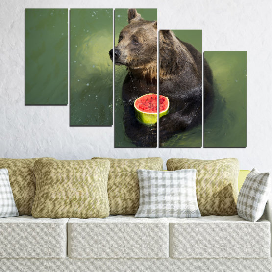 Canvas prints & wall decorative panels - 5 pieces №0256 » Brown, Black, Gray, Dark grey » Animal, Water, Watermelon, Bear Form #7
