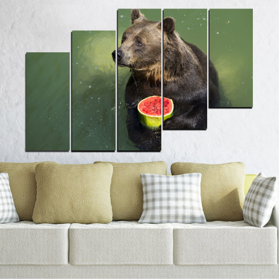 Canvas prints & wall decorative panels - 5 pieces №0256 » Brown, Black, Gray, Dark grey » Animal, Water, Watermelon, Bear Form #8
