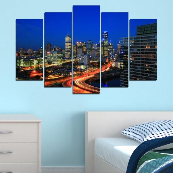Εκτύπωση σε καμβά και διακοσμητικά πάνελ τοίχου - 5 τεμάχια №0257 » Μπλε, Καστανός, Μαύρος, Σκούρο γκρι » Πόλη, Φώτα, Βράδυ, Αυστραλία Form #1