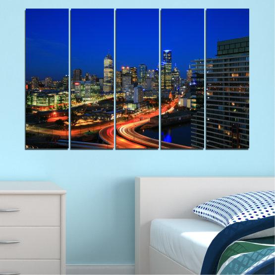 Εκτύπωση σε καμβά και διακοσμητικά πάνελ τοίχου - 5 τεμάχια №0257 » Μπλε, Καστανός, Μαύρος, Σκούρο γκρι » Πόλη, Φώτα, Βράδυ, Αυστραλία Form #2