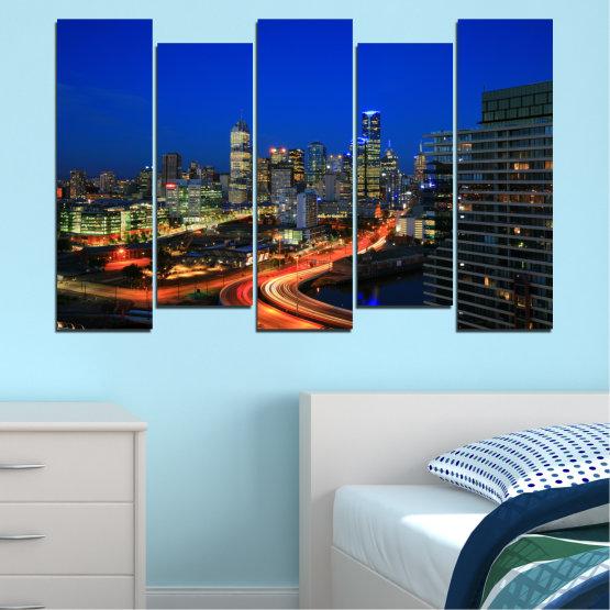 Εκτύπωση σε καμβά και διακοσμητικά πάνελ τοίχου - 5 τεμάχια №0257 » Μπλε, Καστανός, Μαύρος, Σκούρο γκρι » Πόλη, Φώτα, Βράδυ, Αυστραλία Form #3