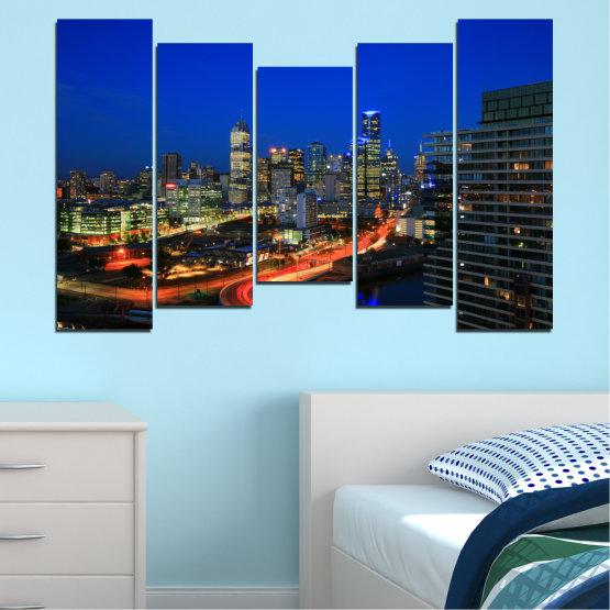 Εκτύπωση σε καμβά και διακοσμητικά πάνελ τοίχου - 5 τεμάχια №0257 » Μπλε, Καστανός, Μαύρος, Σκούρο γκρι » Πόλη, Φώτα, Βράδυ, Αυστραλία Form #4