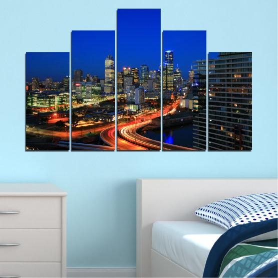 Εκτύπωση σε καμβά και διακοσμητικά πάνελ τοίχου - 5 τεμάχια №0257 » Μπλε, Καστανός, Μαύρος, Σκούρο γκρι » Πόλη, Φώτα, Βράδυ, Αυστραλία Form #5