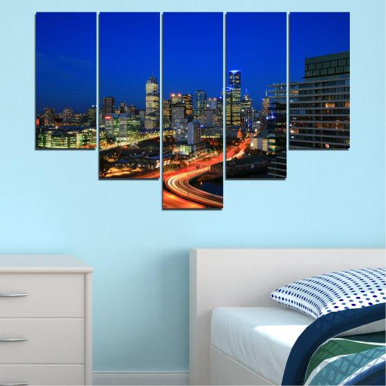 Εκτύπωση σε καμβά και διακοσμητικά πάνελ τοίχου - 5 τεμάχια №0257 » Μπλε, Καστανός, Μαύρος, Σκούρο γκρι » Πόλη, Φώτα, Βράδυ, Αυστραλία Form #6