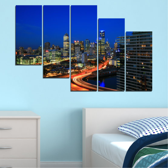 Εκτύπωση σε καμβά και διακοσμητικά πάνελ τοίχου - 5 τεμάχια №0257 » Μπλε, Καστανός, Μαύρος, Σκούρο γκρι » Πόλη, Φώτα, Βράδυ, Αυστραλία Form #7