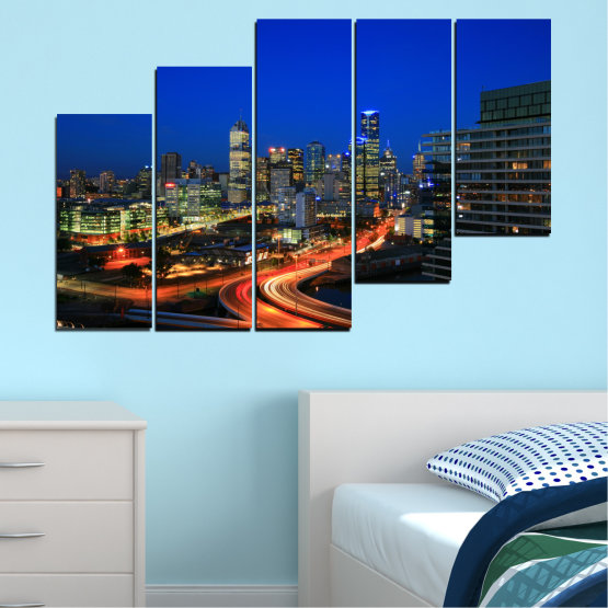 Εκτύπωση σε καμβά και διακοσμητικά πάνελ τοίχου - 5 τεμάχια №0257 » Μπλε, Καστανός, Μαύρος, Σκούρο γκρι » Πόλη, Φώτα, Βράδυ, Αυστραλία Form #8