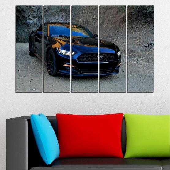 Декоративни панели и картини от канава - от 5 части №0258 » Син, Черен, Сив, Тъмно сив » Кола, Превозно средство, Път Form #2