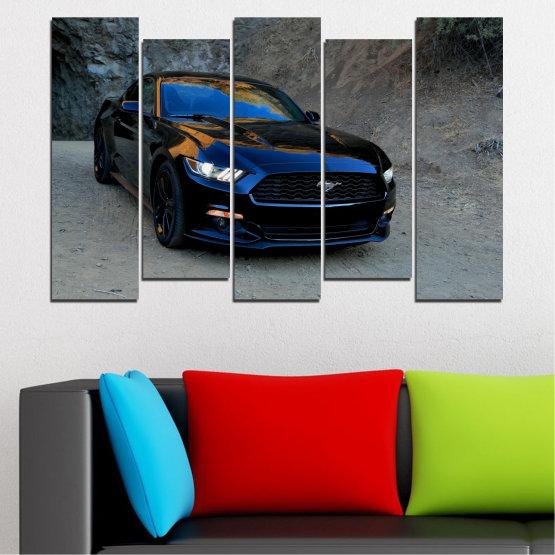 Декоративни панели и картини от канава - от 5 части №0258 » Син, Черен, Сив, Тъмно сив » Кола, Превозно средство, Път Form #3