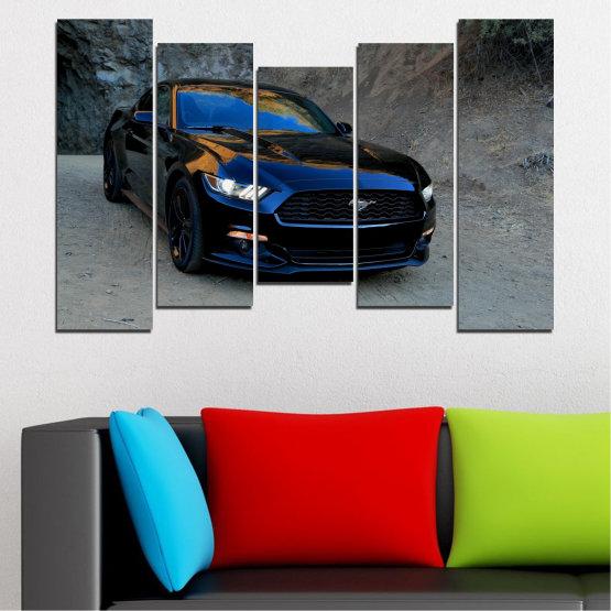 Декоративни панели и картини от канава - от 5 части №0258 » Син, Черен, Сив, Тъмно сив » Кола, Превозно средство, Път Form #4