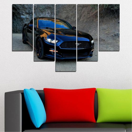 Декоративни панели и картини от канава - от 5 части №0258 » Син, Черен, Сив, Тъмно сив » Кола, Превозно средство, Път Form #6