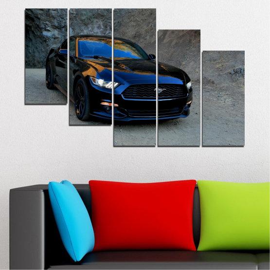 Декоративни панели и картини от канава - от 5 части №0258 » Син, Черен, Сив, Тъмно сив » Кола, Превозно средство, Път Form #7
