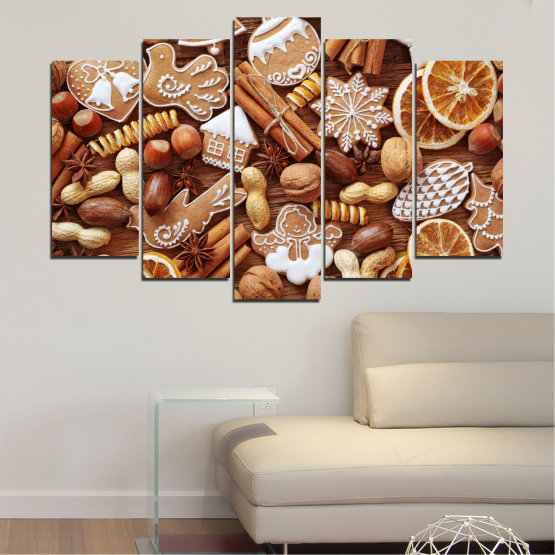 Canvas prints & wall decorative panels - 5 pieces №0259 » Orange, Brown, Gray, Beige » Culinary, Christmas, Pastry Form #1