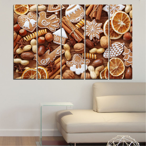 Canvas prints & wall decorative panels - 5 pieces №0259 » Orange, Brown, Gray, Beige » Culinary, Christmas, Pastry Form #2