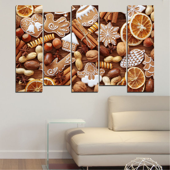 Canvas prints & wall decorative panels - 5 pieces №0259 » Orange, Brown, Gray, Beige » Culinary, Christmas, Pastry Form #3