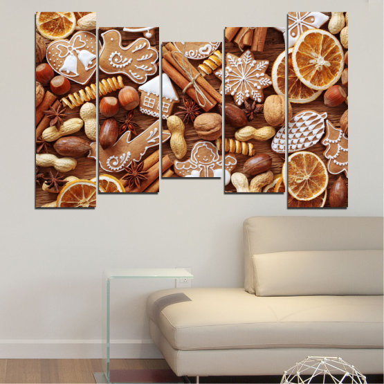 Canvas prints & wall decorative panels - 5 pieces №0259 » Orange, Brown, Gray, Beige » Culinary, Christmas, Pastry Form #4